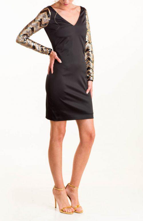 Vestido corto satén negro