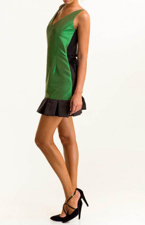 IMG 0155 Editar 500x773 - Vestido corto raso tafetán verde