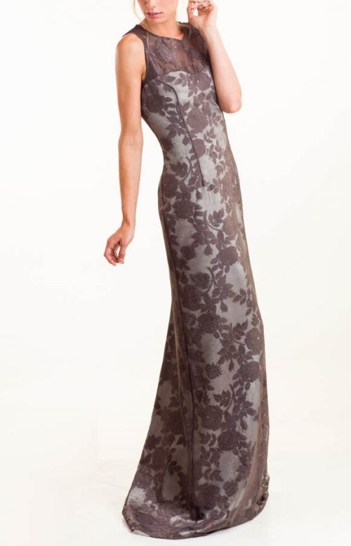 IMG 0551 Editar 500x776 - Vestido largo de encaje gris con flores