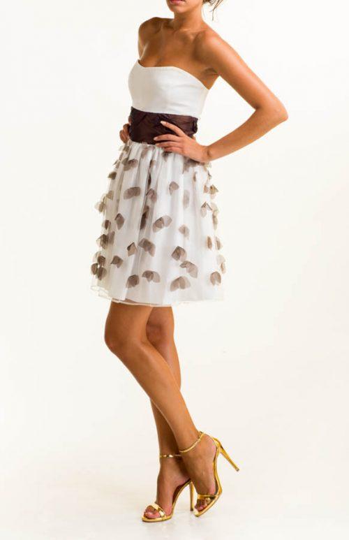 Vestido corto satén blanco