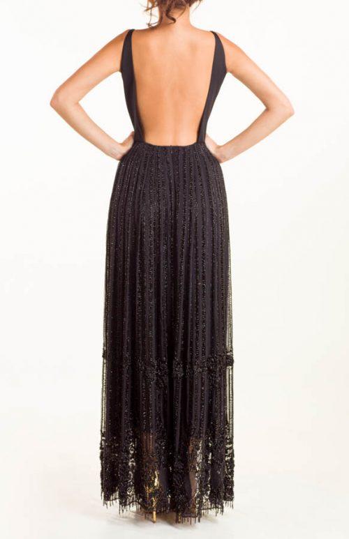 IMG 0697 Editar 500x773 - Vestido largo azabache en base de seda bordado a mano en lentejuelas