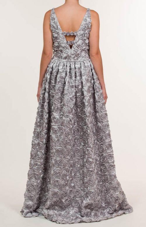Vestido largo con tejido bordado en gris