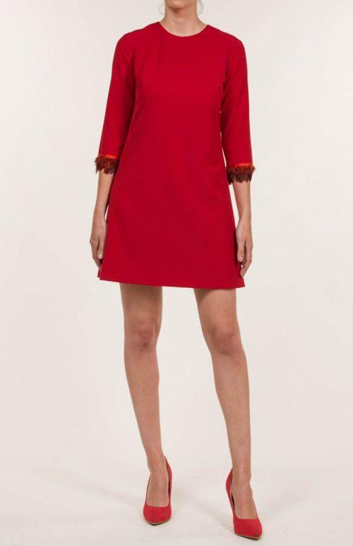 Vestido corto crepe mate rojo