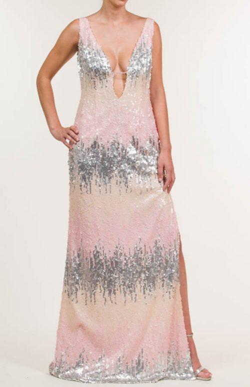 c 18 0345 001488 jb lb 18 166 500x773 - Vestido largo con tejido de lentejuelas multicolor y adorno en escote