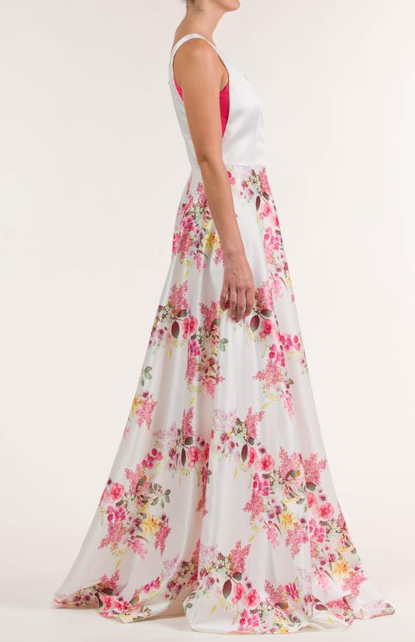 Vestido largo rayon multicolor de flores
