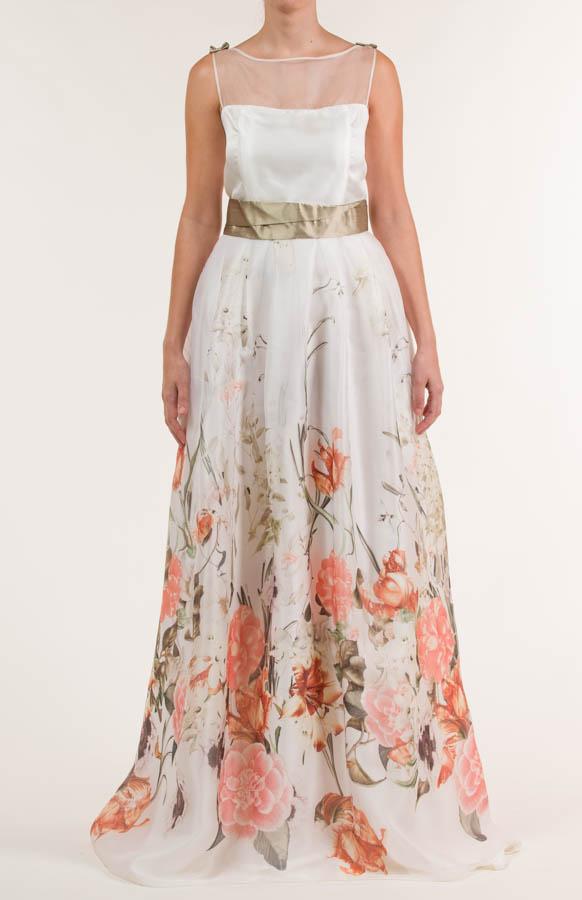 Vestido largo en tejido de seda, con flores en multicolor