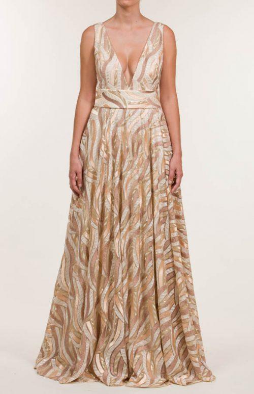 Vestido largo con tejido en bordado en lentejuelas multicolor