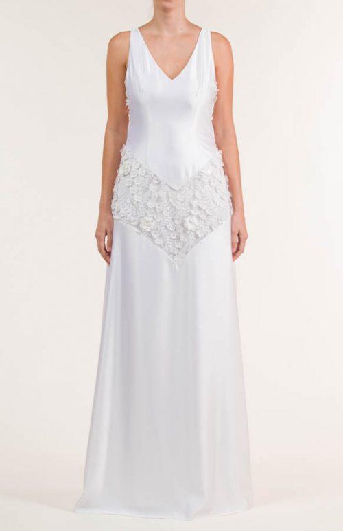 Vestido de novia largo de satén liso blanco