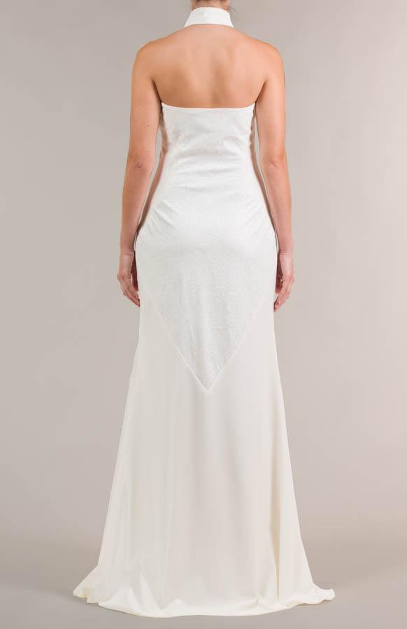 Vestido de novia largo con tejido de flores crema