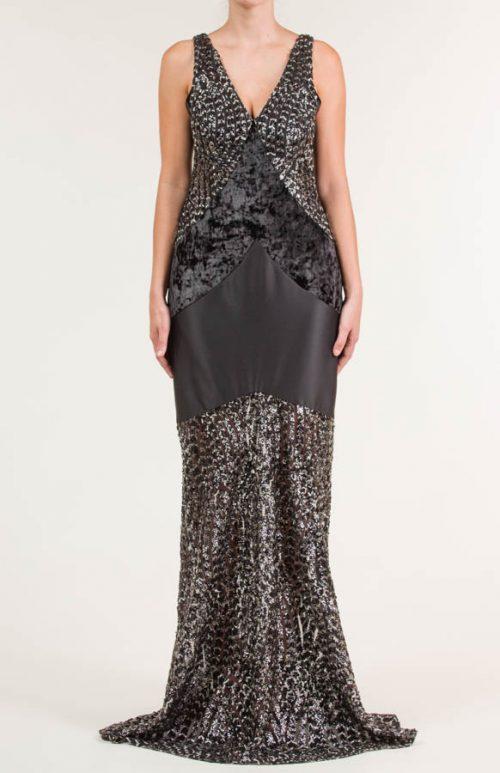 c 18 0345 001488 jb lb 18 2212 500x773 - Vestido largo negro y plata en tejido de lentejuela bordada con transparencia, terciopelo y liso satén