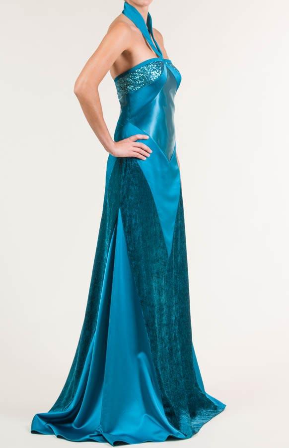 Vestido largo azul Bondi con tejido satén, raso y terciopelo