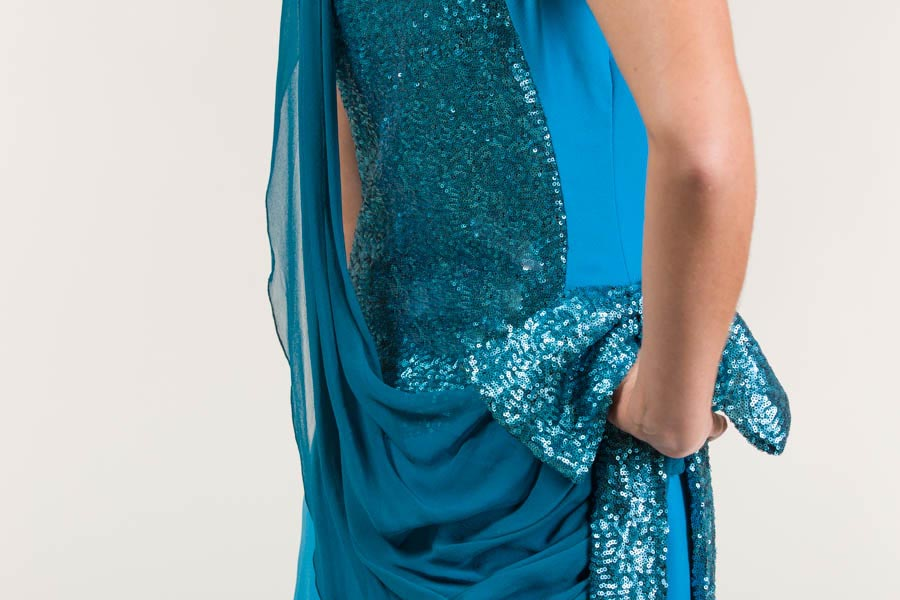 Vestido largo de satén azul