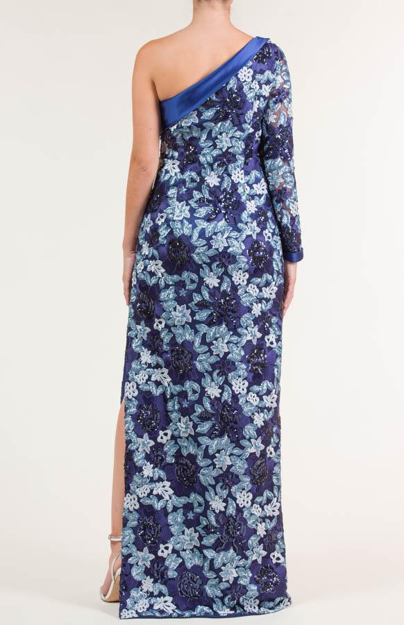 Vestido largo con bordados azul