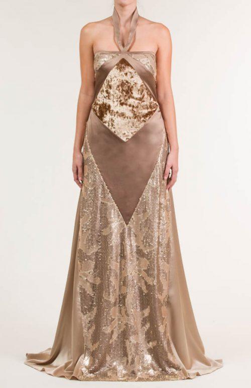 c 18 0345 001488 jb lb 18 2358 2 500x773 - Vestido largo siena  con tejidos combinados en liso satén, lentejuela bordada y velour