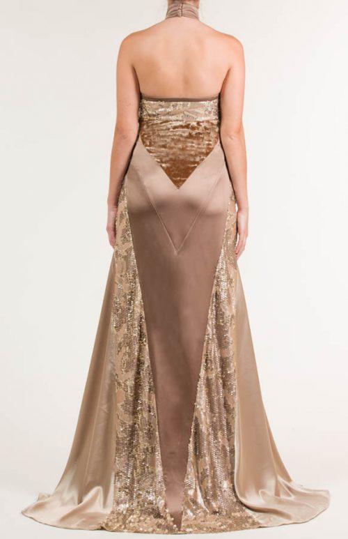 Vestido largo siena  con tejidos combinados en liso satén, lentejuela bordada y velour