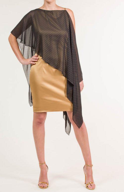 Vestido corto satén dorado