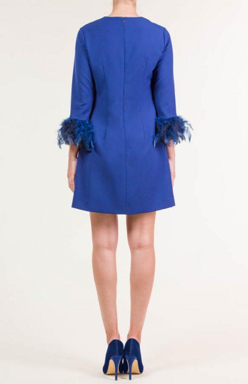 Vestido corto crepe azul eléctrico