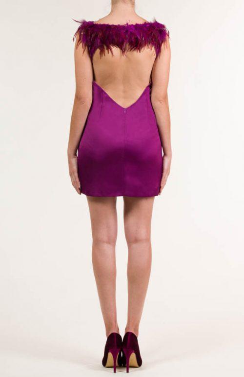 Vestido corto de rayon frambuesa