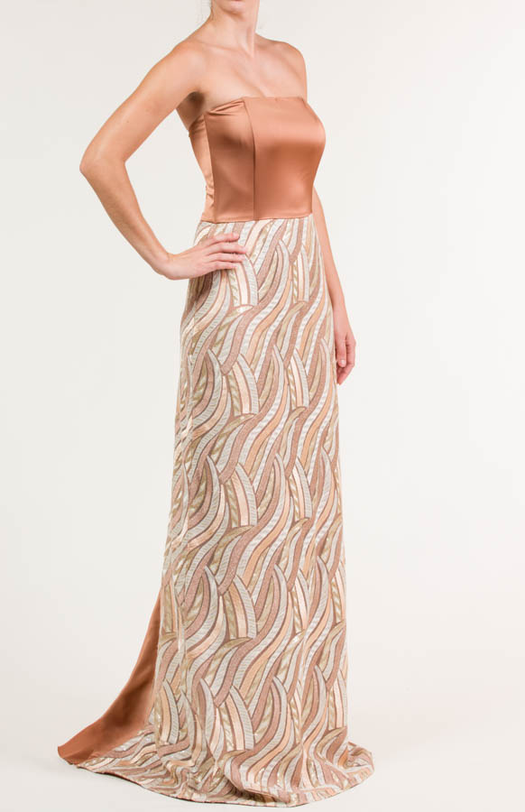 Vestido largo de satén terracota