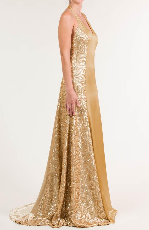 Vestido largo en tejido con lentejuelas color dorado