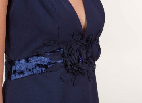 Vestido largo crepe mate azul marino