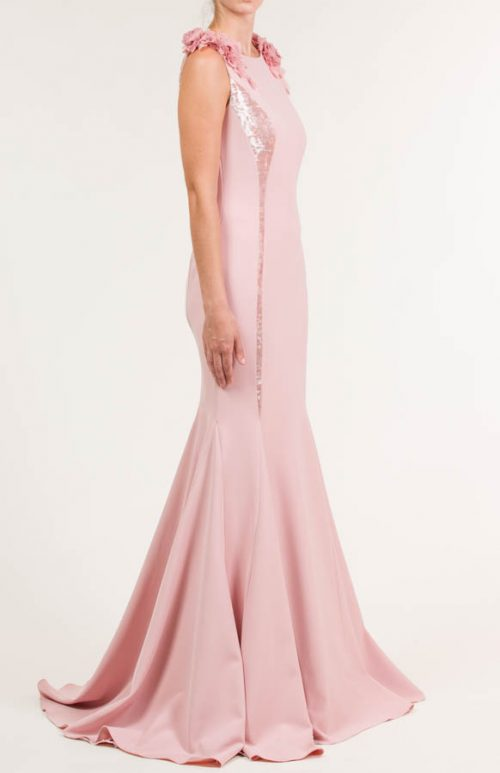 Vestido largo crepe rosa salmón