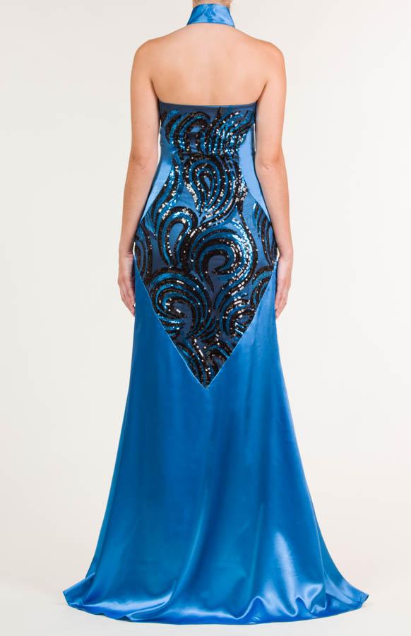 Vestido largo de lentejuelas azul y negro