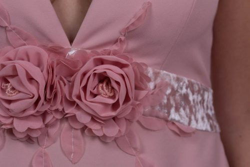 Vestido largo crepe mate rosa salmón