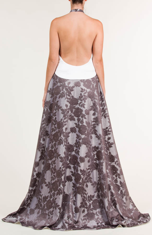 Vestido largo con encaje de flores gris