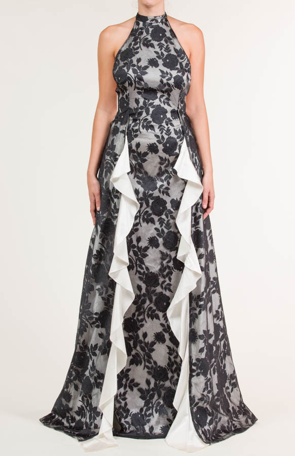 Long Dress With Black Floral Lace Fabric