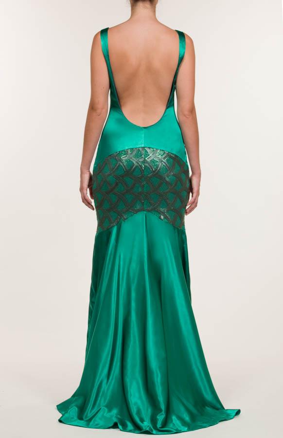 Vestido largo de lentejuelas verde