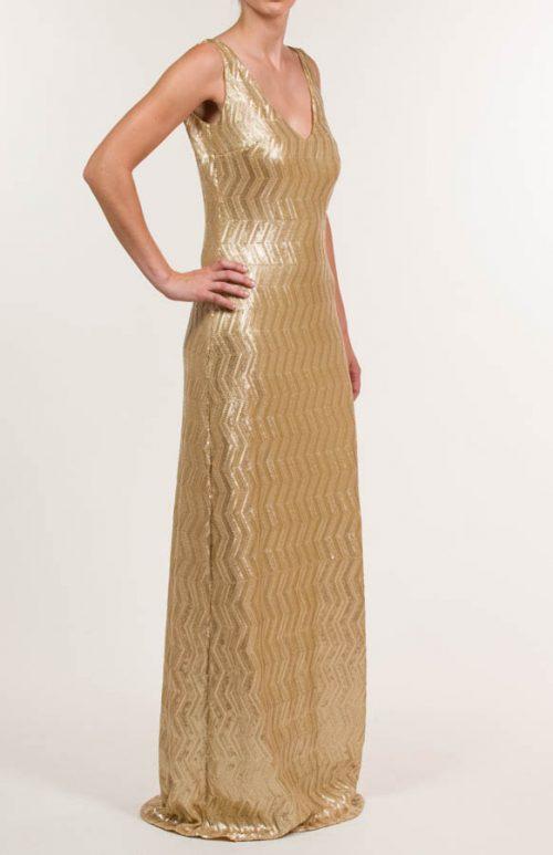 Vestido largo de lentejuelas dorado