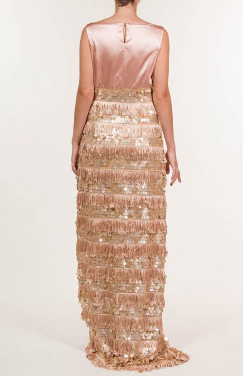 c 18 0345 001488 jb lb 18 377 500x773 - Terracotta fringed and sequined long dress
