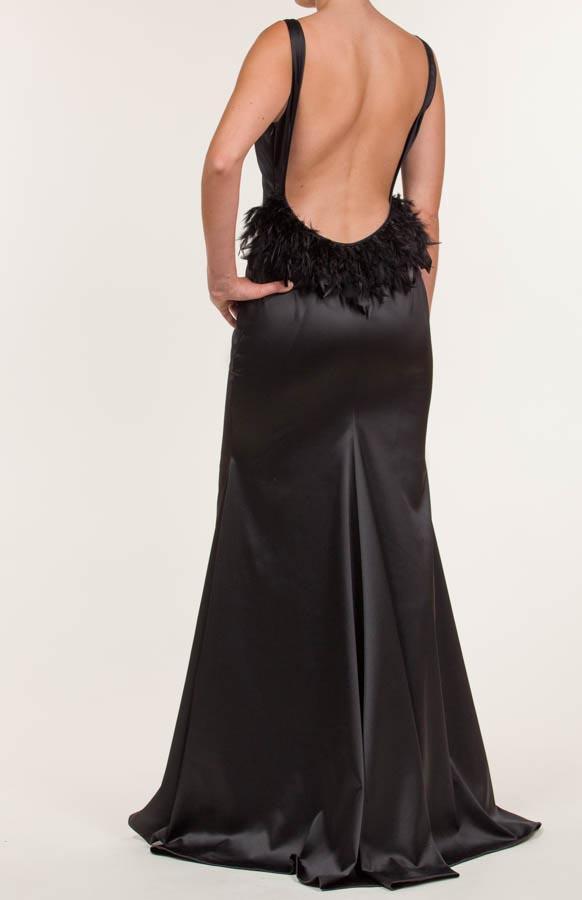 Vestido largo con tejido en satén con span negro