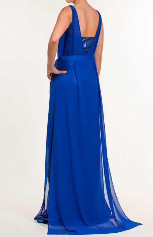 Vestido largo de lentejuelas azul egipcio
