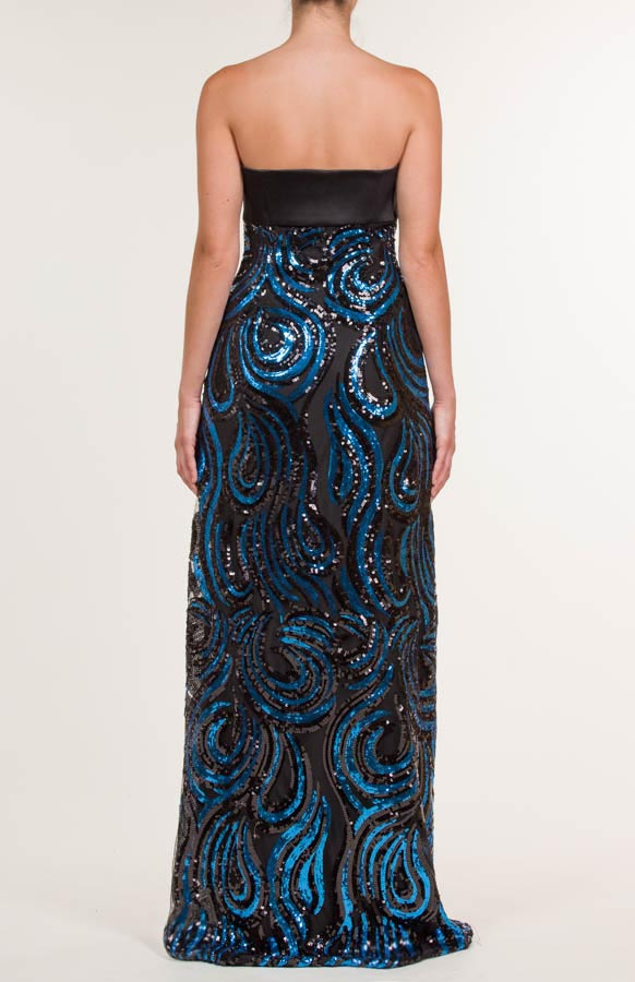 Vestido largo de satén con lentejuelas azul y negro