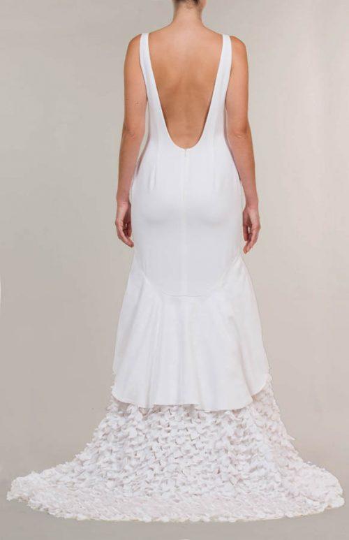 Vestido de novia largo crepe mate blanco