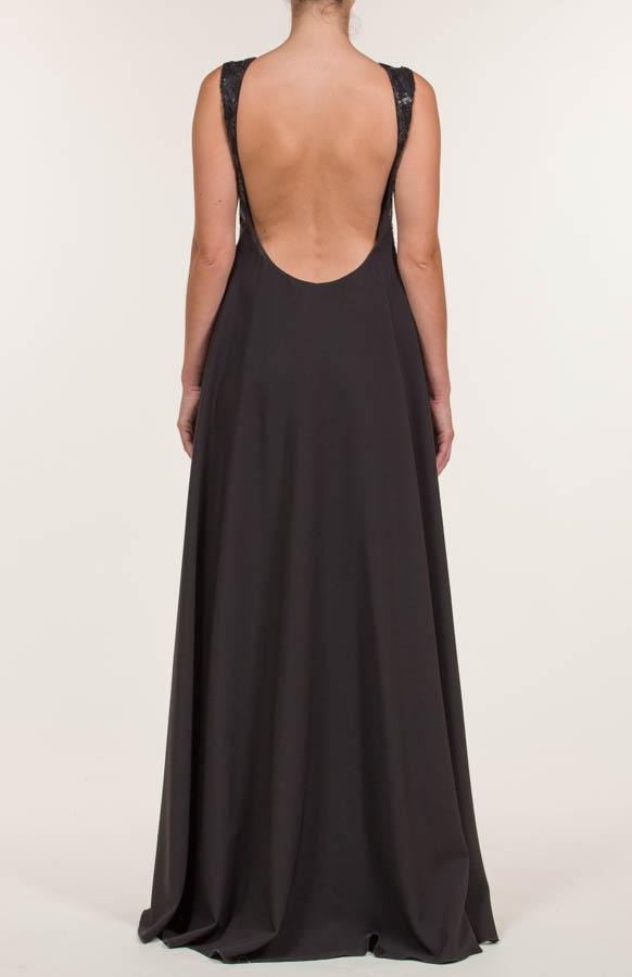 Vestido largo crepe de lentejuelas negro