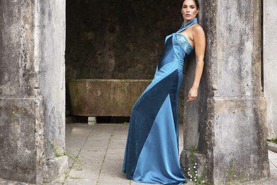 Tela de satén vestidos de alta costura Javier Barrio