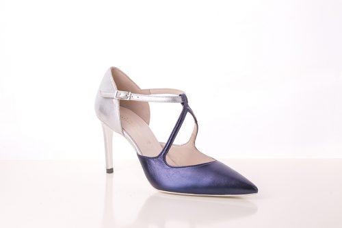 70A9569 500x333 - Zapato de tacón corte salón en tonos bicolor plata y morado