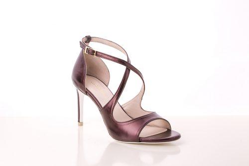 Sandalias de tacón en piel tono cobre