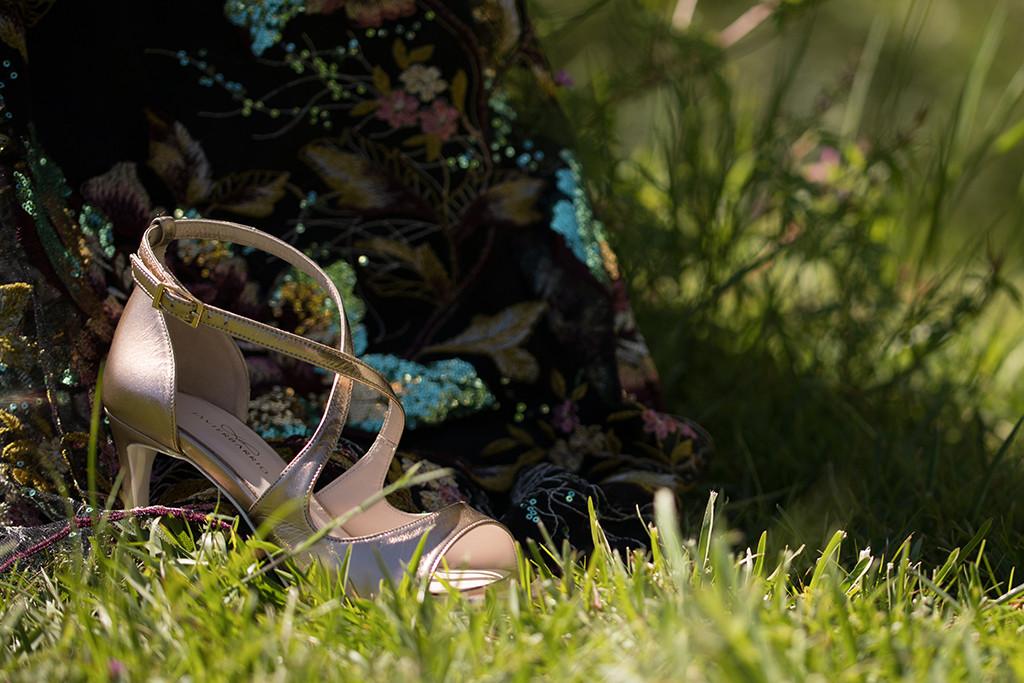 Sandalias de tacón en piel doradas