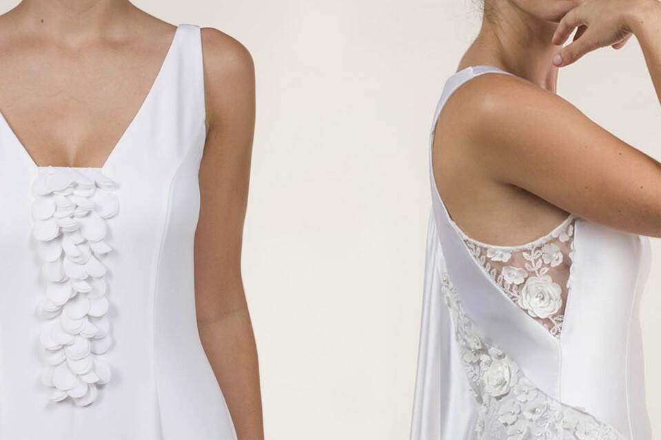 Tela crepé para vestidos de novia por Javier Barrio diseñador de Alta Costura